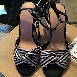 Zara stripes high heels sandals size 6